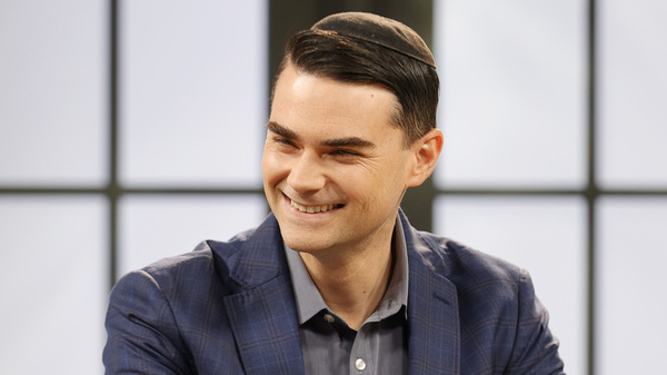 American commentator Ben Shapiro is seen on set during a taping of the Candace podcast in March in Nashville, Tenn.